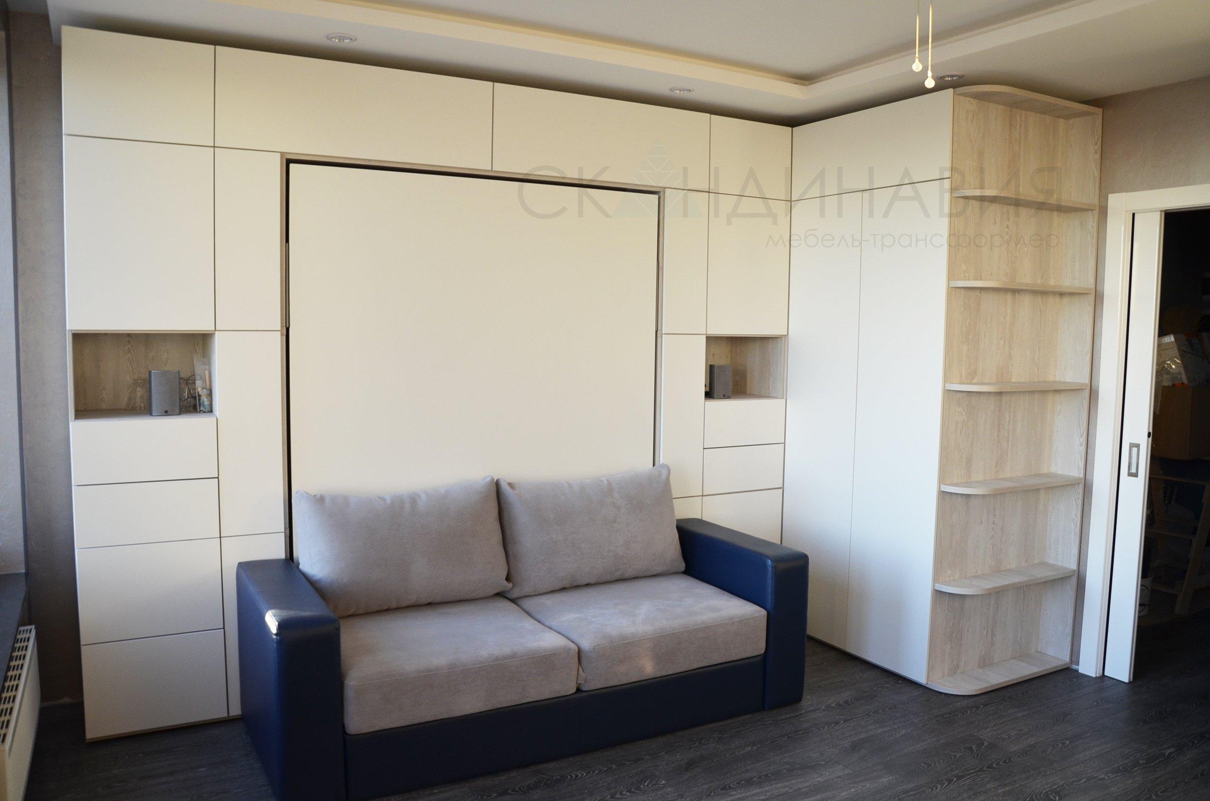 Шкаф-кровать с диваном и угловой системой хранения